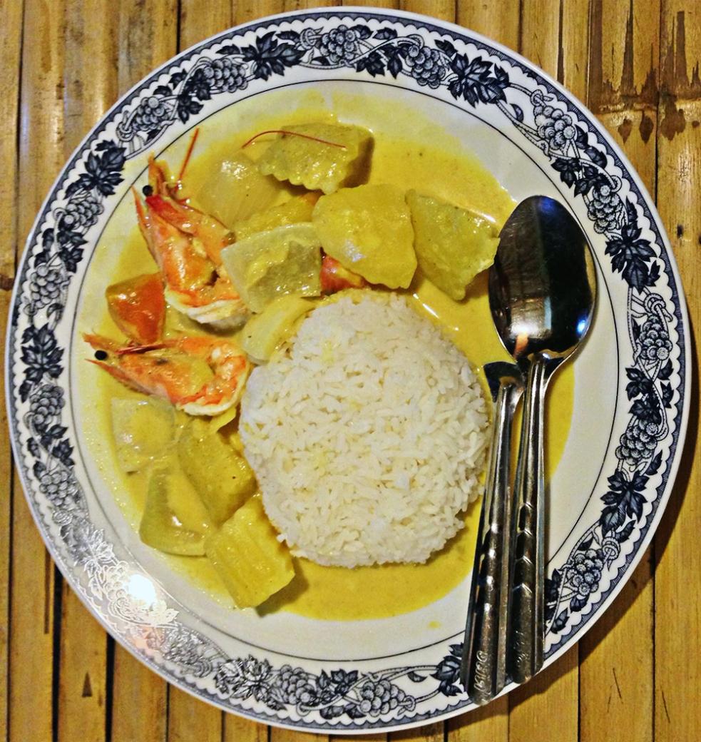 Massaman curry con gambas