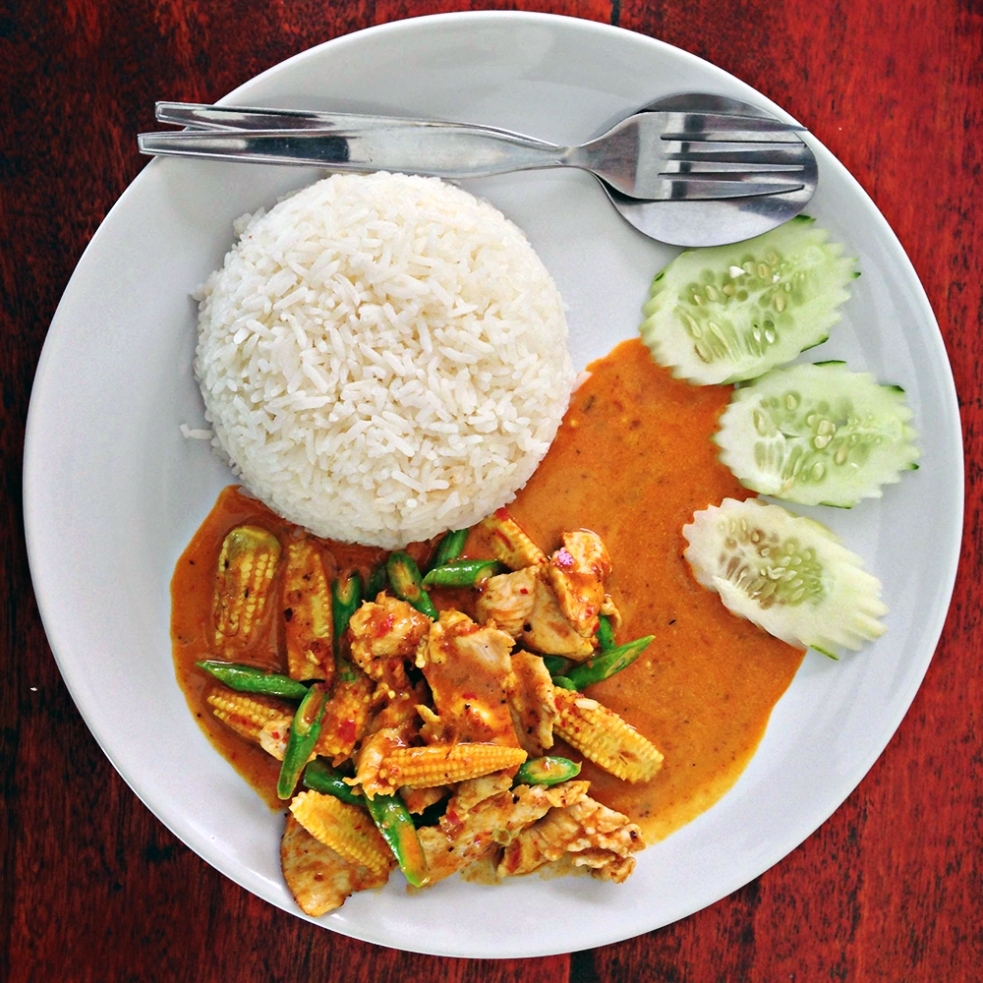 Panang curry de pollo con arroz jazmín