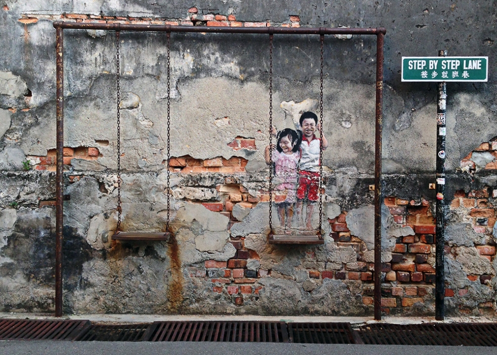 Street art en Step by step lane en George Town Penang