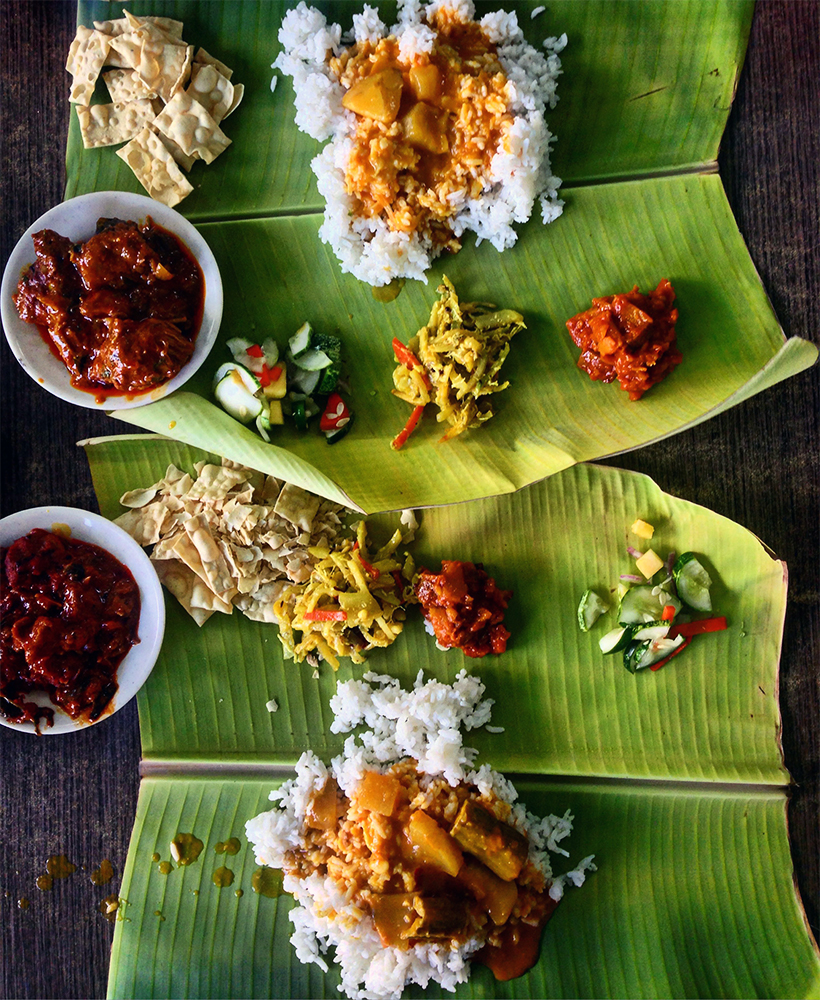 Banana leaf rice en Malaca