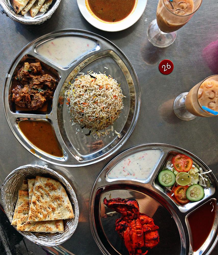 Biryani con curry de cordero