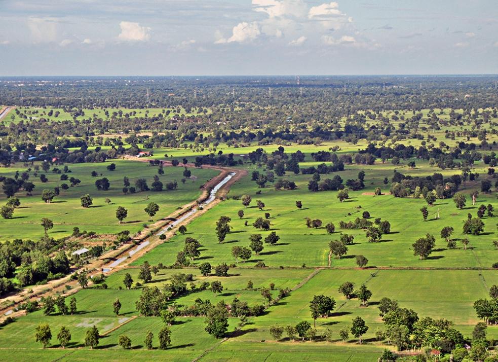 Vistas del valle en Battambang, Camboya