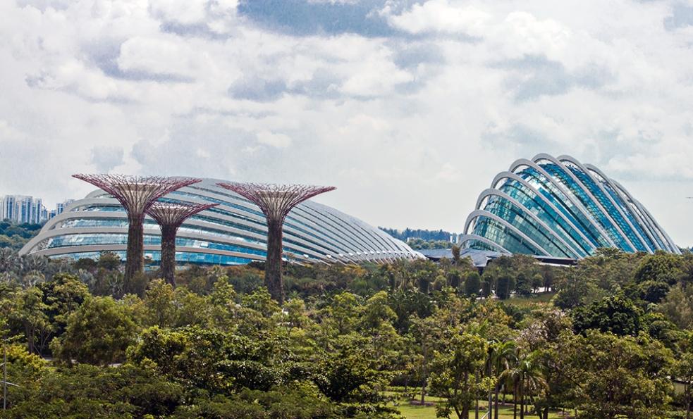 Espectaculares edificios en los Gardens by the Bay