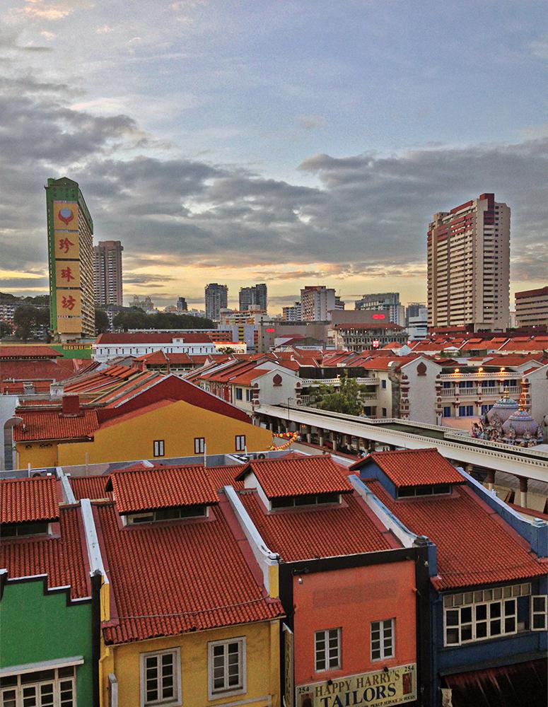 Vistas desde el hostal en Singapur